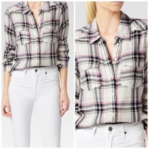 PAIGE Mya Plaid Button Front Shirt